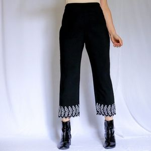 Black high-riseboho ankle pants embroidered hems